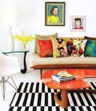 интерьер в стиле поп-арт, и ковер черно белая полоска, фото