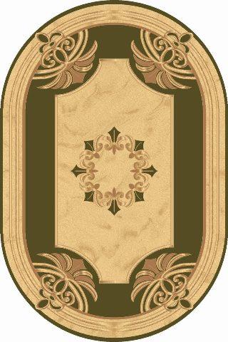 бежево зеленый ковер, овальный, классический рисунок, коллекция Империал Карвинг, Турция