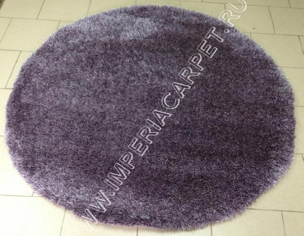 круглый фиолетовый ковер с длинным ворсом