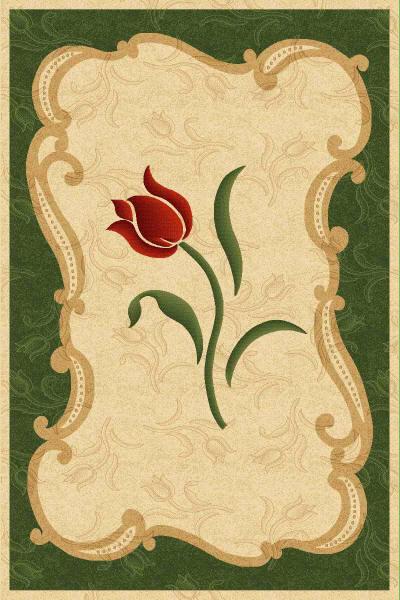 бежевый ковер в зеленой рамке с цветком в центре, коллекция Империал Карвинг, Турция