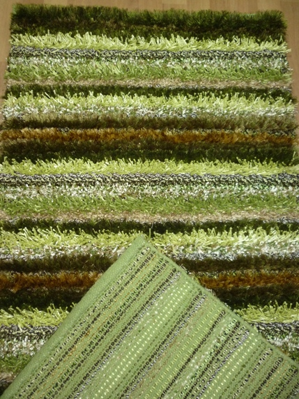 зеленый полосатый ковер с длинным ворсом, коллекция Сунбурст
