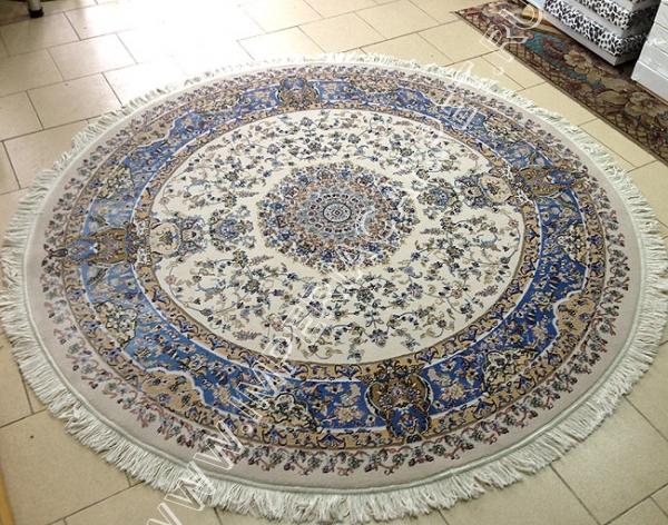 светло синий ковер персидский, круглый, чисто шерстяной, коллекция Машхад, Иран